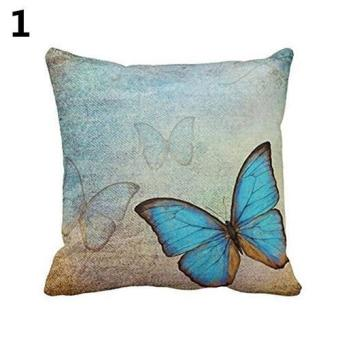 Sanwood Fashion Linen Dog Butterfly Flower Peacock Feather Pillow Case Cushion Cover 45 cm (Blue) - intl