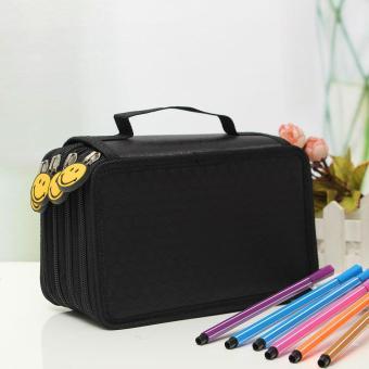 3 PCS Portable Drawing Sketching Pencils Pen Zipper Case Holder Bag For 72pcs Pencils Black - intl