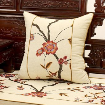Chinese bird and flower embroidery pillow cushion mahogany wood sofa cushion seat backrest pillow chip-lumbar pillow 45x45cm kit - intl