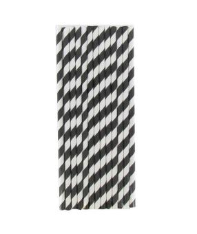 ooplm 25 Pcs Reusable Environmental Paper Striped Party Straws (Black White)