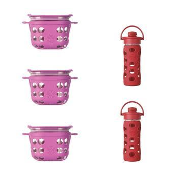 Lifefactory - Bundle - Food Storage 16oz (Huckleberry) - 12oz (350ml) Flip Cap (Red)