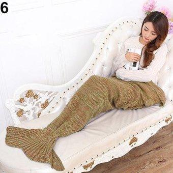 Sanwood Knitting Handmade Fish Mermaid Tail Shape Sofa Bed Quilt Blanket 70cm by 140cm (Dark Yellow) - intl