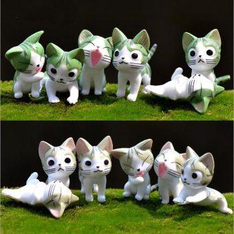 6PCS Cheese Cat Micro Landscape Ornaments Figurine Miniature PVC Bonsai DIY Decoration Fairy Garden(Grey) - intl