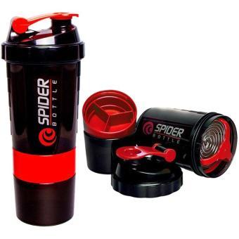 OHOME Botol Minum Fitness Spider Bottle 600 ML Smart Shaker Gym Water Bottle Air - Merah. >>>>