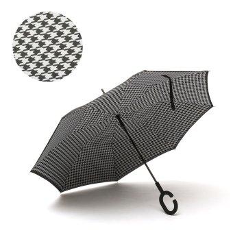 Houndstoot C-Handle Double Layer Inverted Reverse Upside Down umbrella Windproof - intl