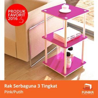 Harga FUNIKA Rak Simpan Mini 3 Tingkat Pink 11213 PK/WH - Merah Muda