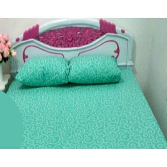 Alona Ellenov Sarung Kasur Waterproof (Anti Air) Warna Ulir Tosca Uk 140x200x30cm - Tosca