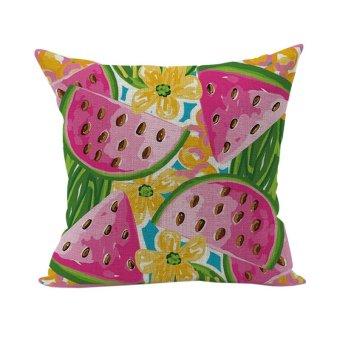 Nunubee Colorful Pattern Cotton Linen Home Square Pillow Decor Throw Pillow Case Sofa Cushion Cover Watermelon