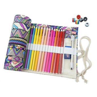 ooplm Handmade Bohemian Pattern Canvas Pencil Wrap Creative Pencil Holder Colored Pencil Roller , 72 Holes - intl