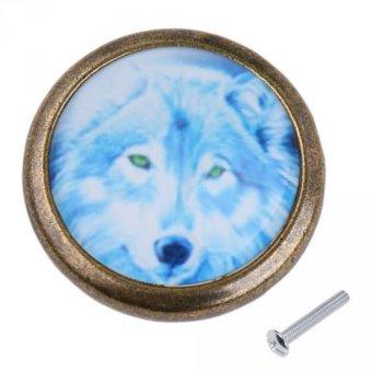 BolehDeals Vintage Round Cabinet Door Drawer Closet Handle Pull Knob Hardware Wolf #4 - intl