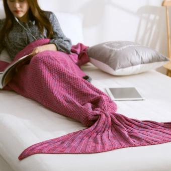 Knitting Wool Plush Mermaid Tail Air Conditioning Blanket (Rose)