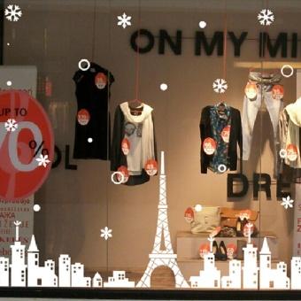 360DSC Christmas Wall Poster Eiffel Tower White Castle Snow Glass Window Wall Stickers