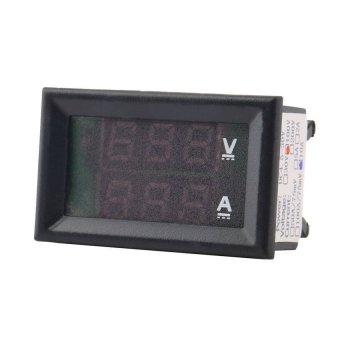 DC 100V 10A Voltmeter Ammeter Blue + Red LED Amp Dual Digital VoltMeter Gauge (Black) - intl