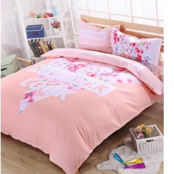 Bed Spread Sheet Comforter Quit Cover Pillowcase Bedding Bedclothes 100% Cotton Blossom Flower Blush Pink - intl