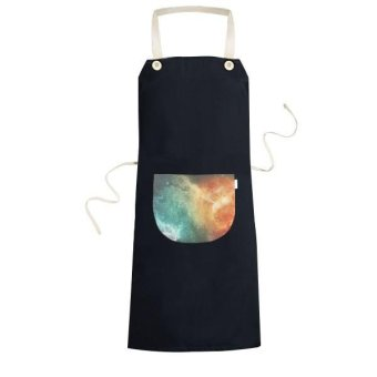 Large Red Nebula Adjacent With Small Blue Nebula Illustration Pattern Cooking Kitchen Black Bib Aprons With Pocket for Women Men Chef Gifts - intl