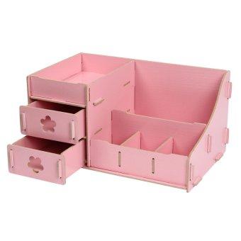 Harga ZigZagZong Multifunctional Wooden Cosmetic Desktop Storage Box Make-up Organizer - intl