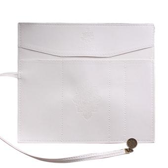 Model tas kulit PU perban pena pensil tas penyimpanan kantong kosmetik make up Pouch putih - Internasional