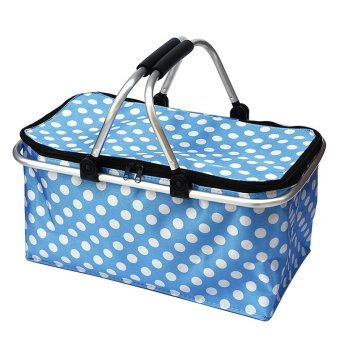 Portable 31L Large Capacity Insulated Lunch Bag Fashion Dots Pattern Foldable Daily Life Waterproof Cold Insulation Lunch Meal Prep Bag Zipper Basket with Carrying Handle for Home Office Outdoor Camping Picnic Blue - intl