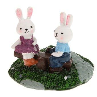 BolehDeals BolehDeals Romantic Ribbit Lovers Cartoon Resin Miniature Landscape Bonsai Mini Decor