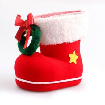 Christmas Decorations Flocking Boots Xmas Gift Creative Santa Claus Christmas Big Socks 14*14*8cm - intl