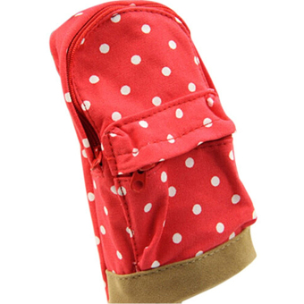 Polka Dot Pattern Canvas Pen Bag Pencil Case Cosmetic Pouch Coin Storage Bag Makeup Pouch Red - Intl