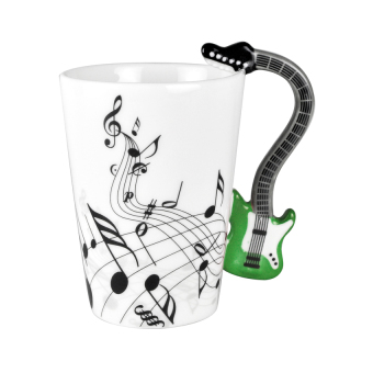 Novelty Music Notes Multicolor Electric Guitar Coffee Milk Ceramicmug Cup(Green) - intl