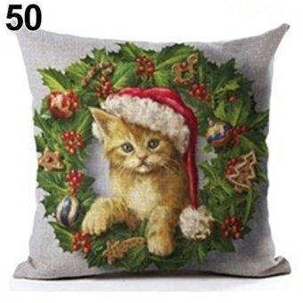 Sanwood Geometric Flower Xmas Linen Throw Pillow Case Home Decoration Sofa Cushion Cover 50 - intl