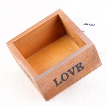 Vintage Wooden Box Wood Succulents Plants Flowerpot Mini Storage Box - intl