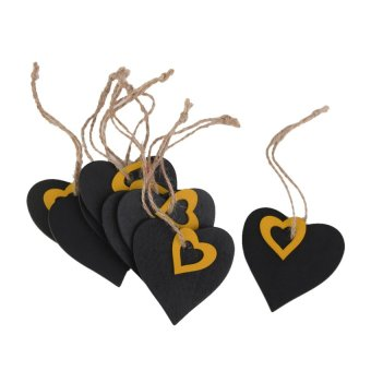 RIS 10pcs Mini Yellow Heart Chalkboard Tags with String