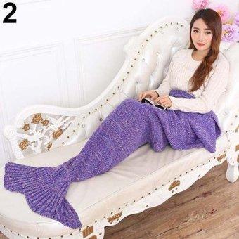 Sanwood Cute Mermaid Tail Crochet Blanket Soft Warm Sofa Bed Sleeping Bag (Light Purple) - intl