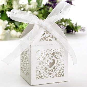 50PCS Pack Party Wedding Favor Gift Box with Ribbon