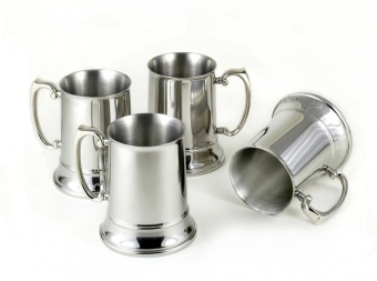 Set of 4 Stainless Steel Beer Mugs - intl