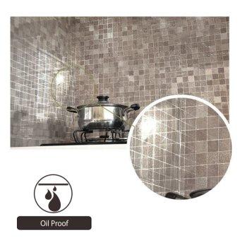 45 cm x 200 cm aluminium Foil dan mosaik perekat Wallpaper anti minyak coklat