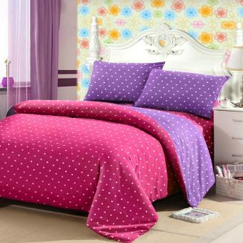 Jaxine Sprei Tinggi 30cm Motif Polkadot Warna Pink Lilac