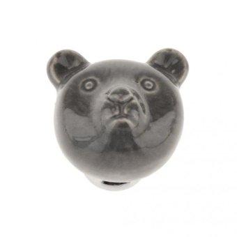 BolehDeals Creative Bear Ceramic Drawer Cabinet Cupboard Door Pull Handle Knob Grey - intl