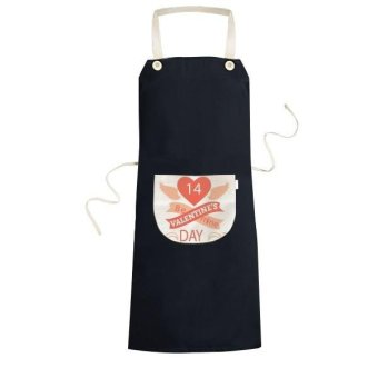 Red Valentine's Day Be Mine Number 14 Image with Heart Wings Curves and Banners Illustration Pattern Cooking Kitchen Black Bib Aprons With Pocket for Women Men Chef Gifts - intl