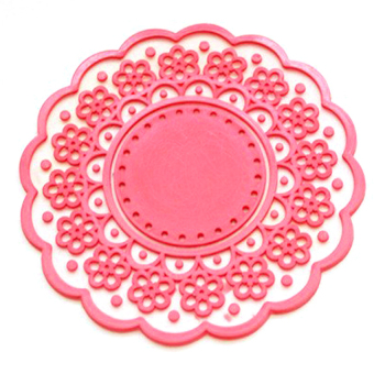 HL Translucent Hollow-Out Lace Pattern Non-Slip Insulated Round Silicone Cup Coaster Mat (Red) - intl