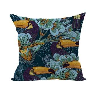 Tropical Parrot Fish Pillowcase Plant Flowers Cotton Throw Pillow Case Linen Bed Cushion Cover