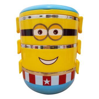 Harga Lunch box rantang susun 3 stainless steel karakter - kuning biru