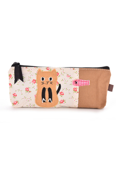 Pouch Cute Cat Pattern Pencil Case Flower