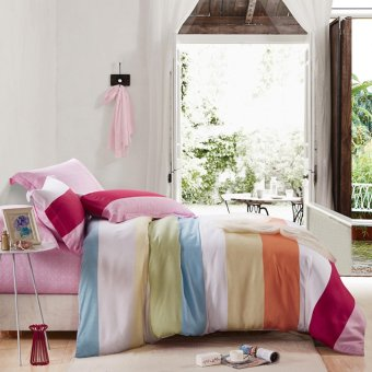 4 Pcs Luxury Bedding Sets King/Queen Size Bed set silk Bed Spread Duvet Cover /Pillowcases - intl