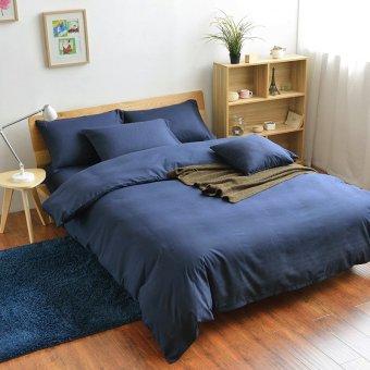 1.5m 3pcs/4pcs Aloe Cotton Peach Fabric India Cotton Bed Sheet Solid Color Bedding Queen King Size Duvet Cover Set - intl