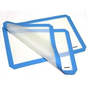 2 x Silicone Mat Platinum Cured Non-Stick Pad 16 1/2 x 11 1/2 inches by TitanOwl - Sheet with blue corners - intl