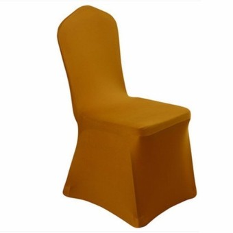 Hotel hotel chair wedding wedding solid color thick white stretch high-end banquet chair cover - intl