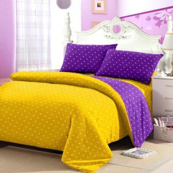 Alona ellenov Sprei + Rumbai Katun Polkadot Yellow Purple - Kuning