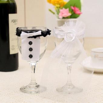 Wedding Toasting Wine Glass Decoration Bride Groom Tux Dress Party Gift Wedding - intl