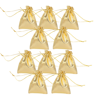 Organza Bags Jewelry Pouches Drawstring Gift Candy Bag 10PCS Gold