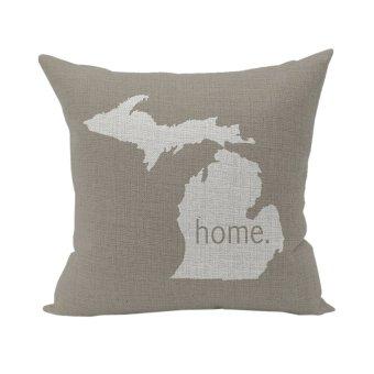 Throw Pillowcase Linen Pillow Case Home Decorative Cotton Cushion Cover Map 2