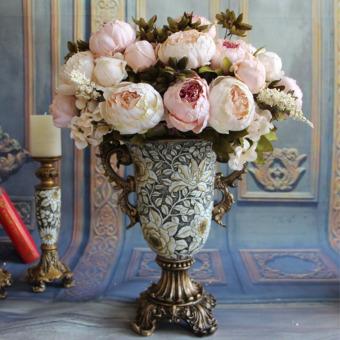 Harga 1 Bouquet 8 Heads Artificial Peony Silk Flower Leaf Home Room Wedding Party Decor Light