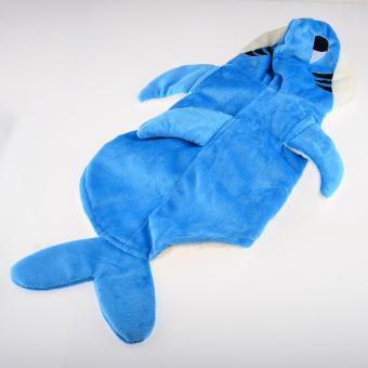 360DSC Plush Velvet 3D Shark Dress Up Costume Pet Puppy Dog Cat Hoodie Coat Apparel Clothes - Blue M (Intl)